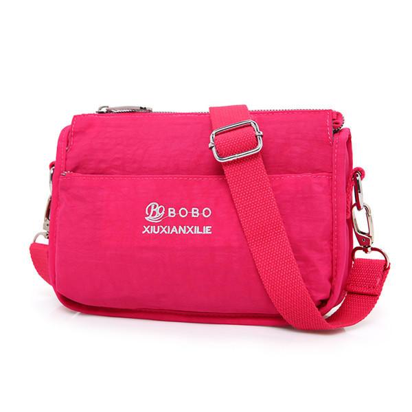 النساء Nylon ضوء رسول حقائب عارضة حقائب الكتف جيوب الجبهة للماء كروسبودي حقائب