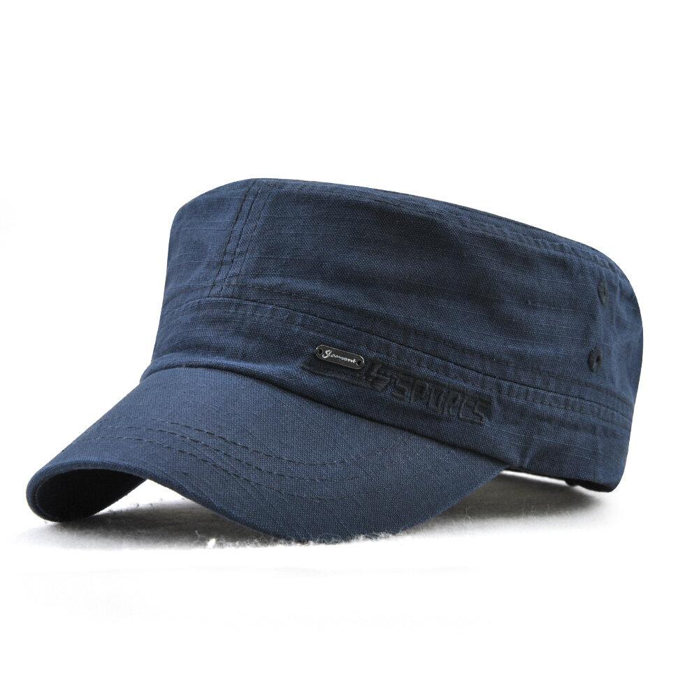 Mens Summer Adjustable Flat Top Cap Solid Brim Army Cadet Style Military  Hats COD 0a4edb91a94