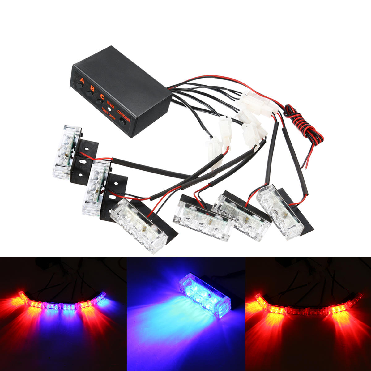 Strange 12V Led Red Blue Strobe Flash Lights Emergency Light Police Dash Wiring Digital Resources Arguphilshebarightsorg