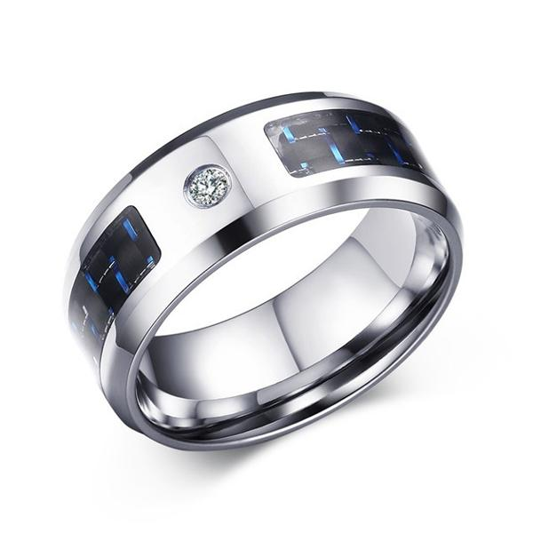 8mm Blue Stainless Steel Men's Jewelry Carbon Fiber Finger Ring for Men