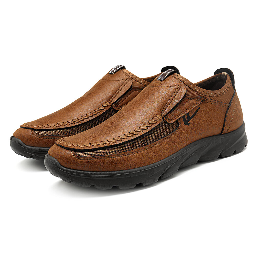247826640de menico casual comfy soft moc toe slip on leather oxfords at Banggood
