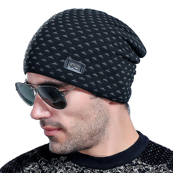 80c099fc 1 / 12. Men Warm Striped Knitted Hats Elastic Stretchable Winter Slouchy  Beanie Skull Cap Navy
