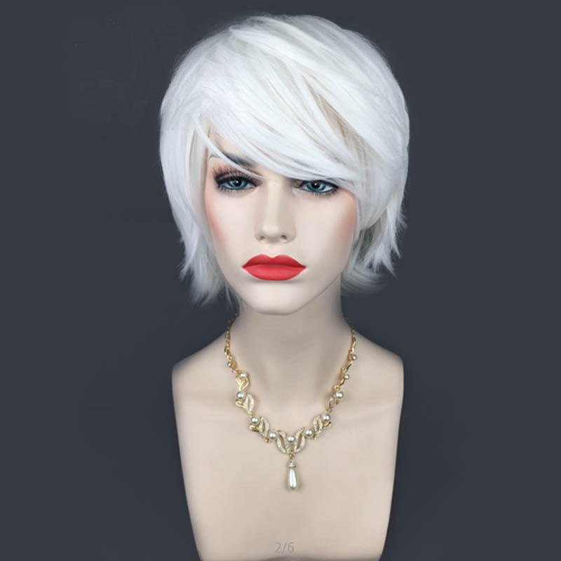Cosplay Wigs Short White Halloween Party Full Hair With Cap Anime Hair