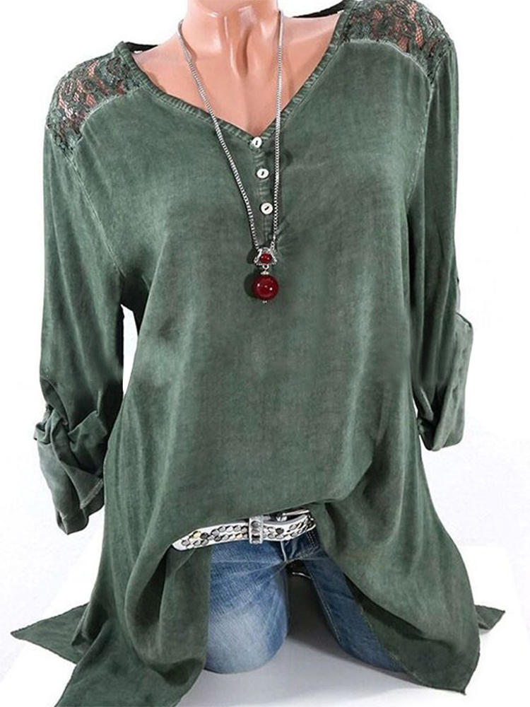 Casual Women V-Neck Lace Patchwork Oregelbunden Full-Sleeve Blouse