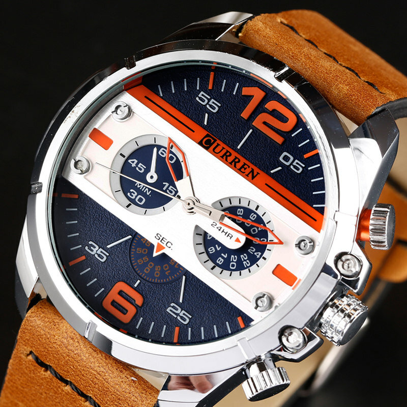 CURREN 8259 Casual Quartz Watches Rubber Band Military Analog Leather Quartz Wrist Watch