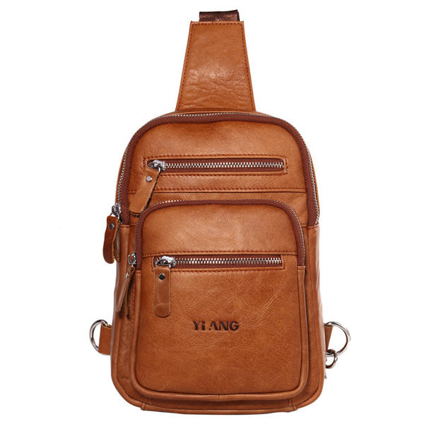 Men Large Capacity Genuine Leather Casual Outdoor Cowhide Chest Bag Crossbody Bag
