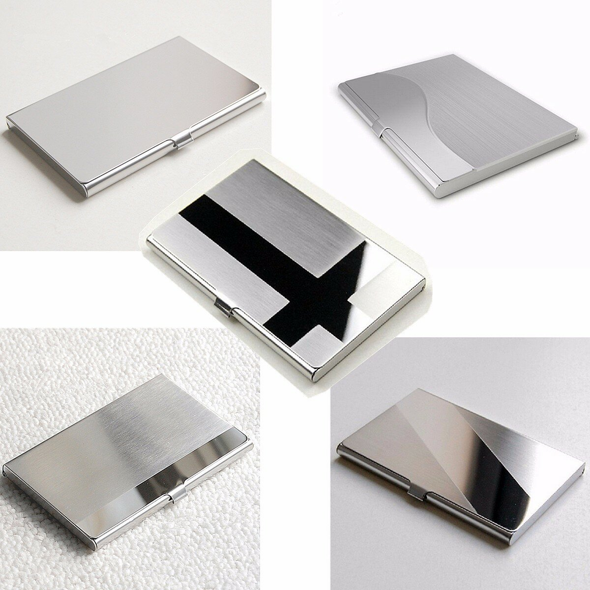 Stainless steel business id credit card holder name card wallet stainless steel business id credit card holder name card wallet metal pocket box case holder reheart Images