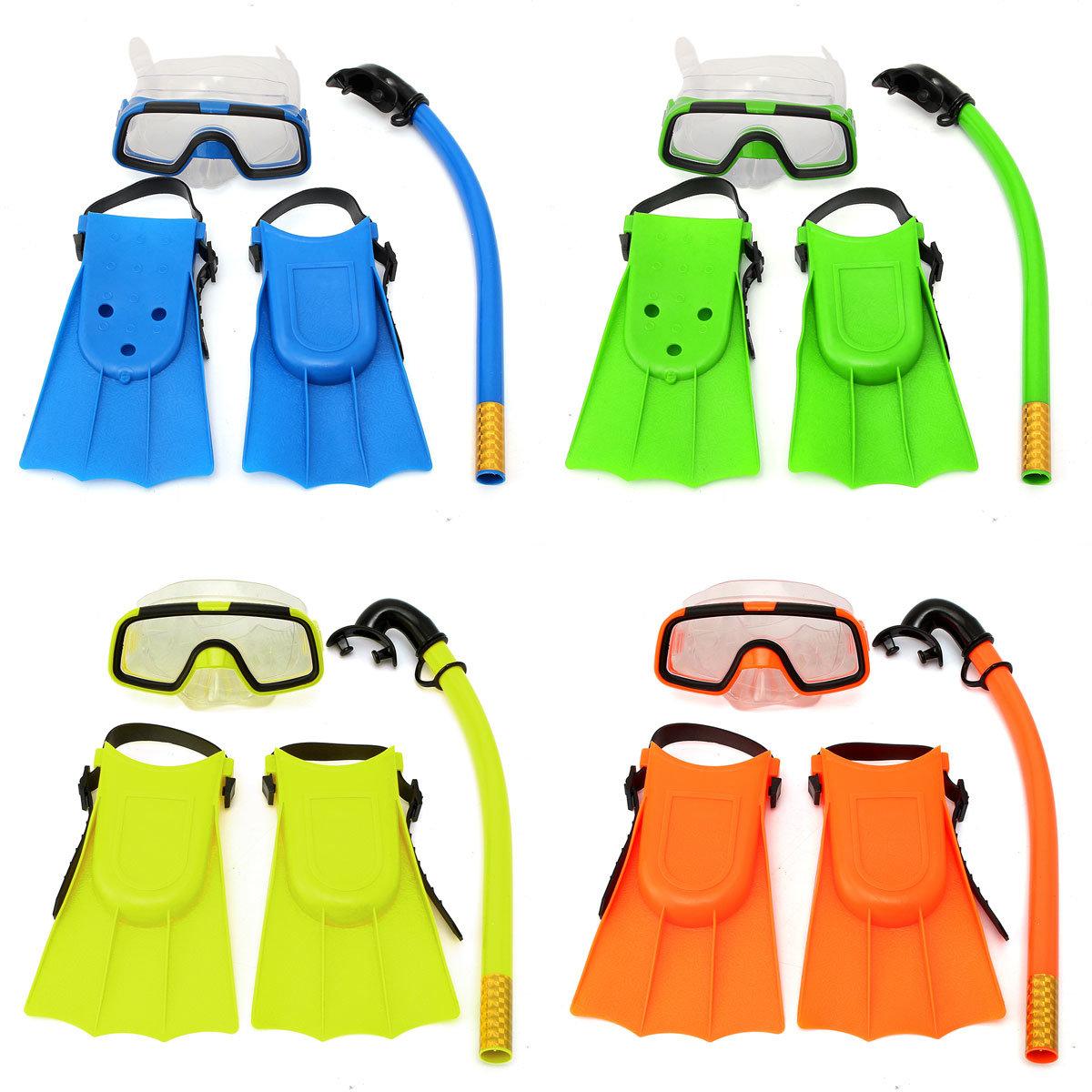 8701cec9c64 Junior Children Snorkeling Set Diving Mask Goggles Flippers Scuba Swimming  Diving Kids Set COD