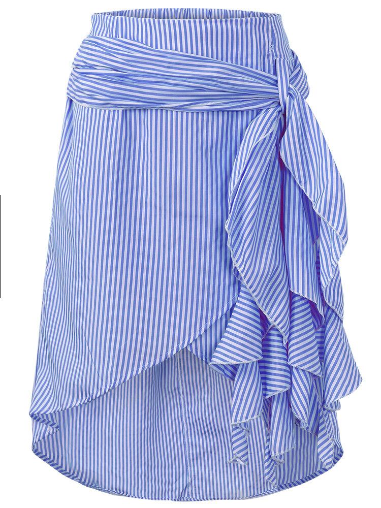 캐주얼 여성 줄무늬 붕대 민족 허리 비대칭 스커트