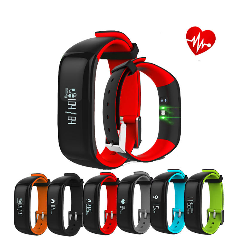 0.86inch OLED P1 Heart Rate Blood Pressure Monitor Waterproof Bluetooth Smart Watch For iphone X 8/8 COD