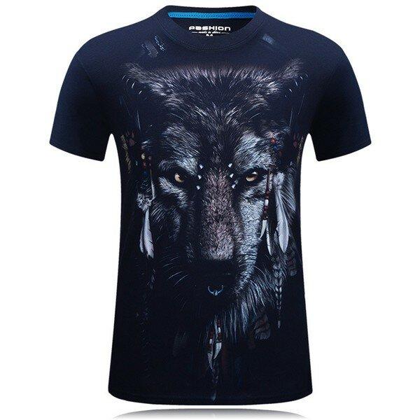 9f6f850b329721 plus size s-4xl summer 3d indian wolf printing o-neck men t shirts short  tees at Banggood