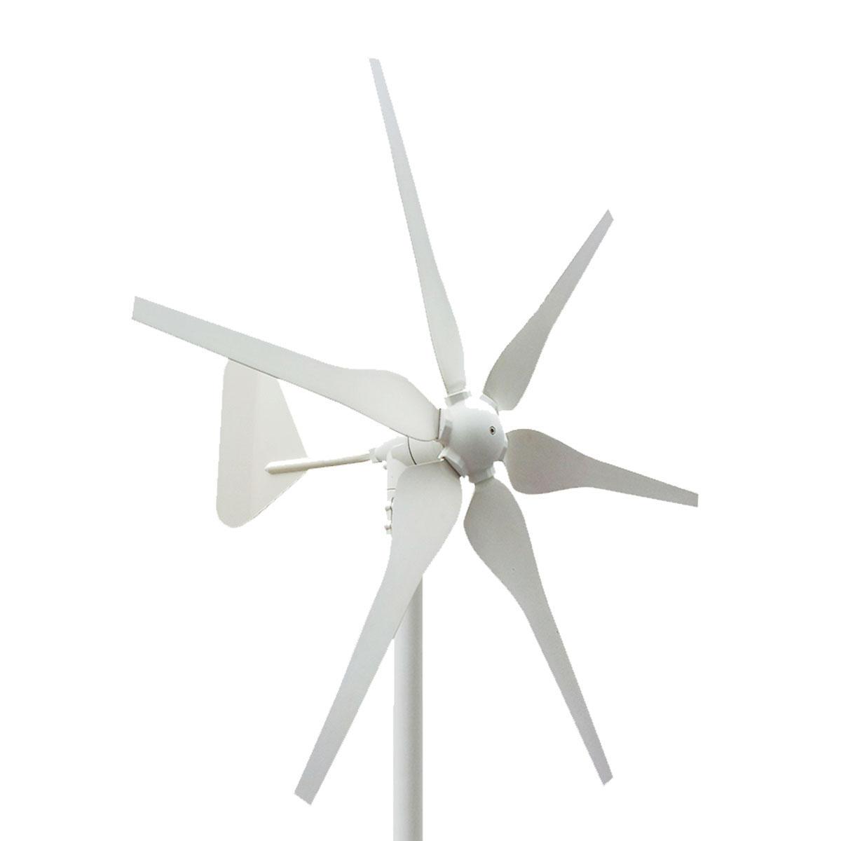 Turbine de générateur de vent horizontal de 500W 6 lames 12V / 24V résidentiel avec le contrôleur