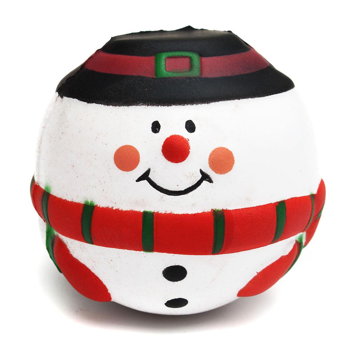 Baby Kid Toy PU High Elasticity Ball Developmental Early Fun Educational Cartoon Snowman Christmas Decor Gifts