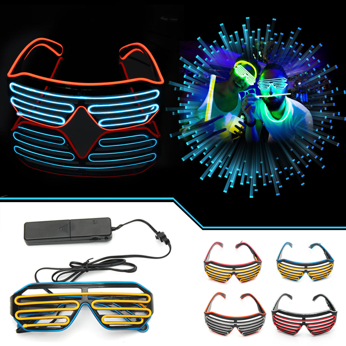 Well-Educated Led Wire Glasses Light Up Glow Sunglasses Eyewear Shades For Nightclub Party Night Vision Glasses Men's Night Vision Glasses Men's Glasses
