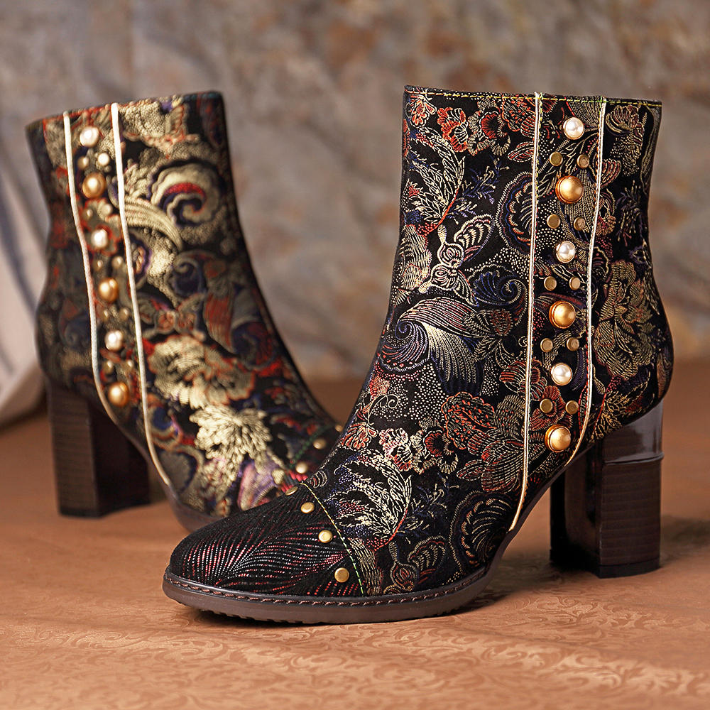 SOCOFY Stitching Splicing Chunky Heel Zipper Ankle Leather Boots