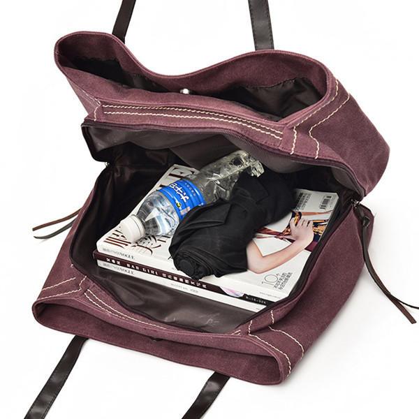 Ekphero المرأة قماش عارضة ثلاثة جيوب الرئيسية حقيبة يد