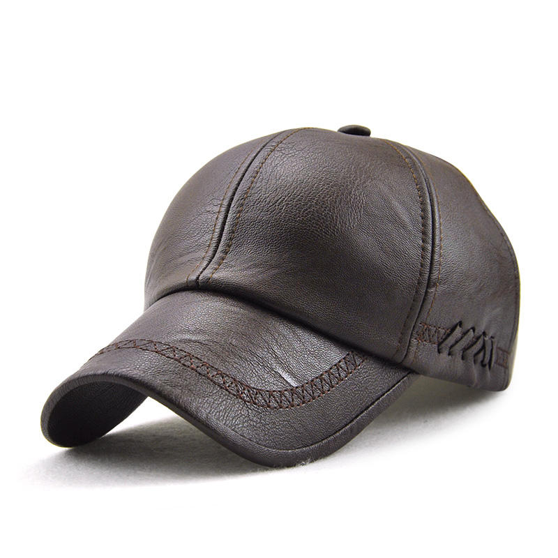 men artificial leather lace-up adjustable baseball caps outdoor ... 16fe500b34f