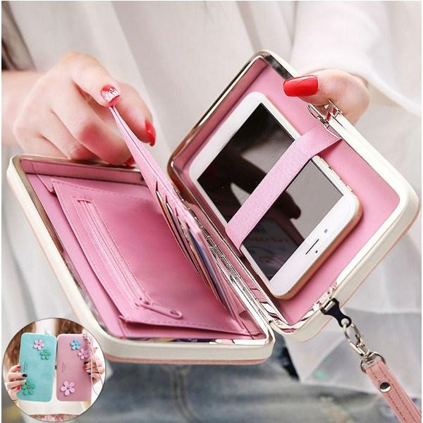 Women Flower 5.5 Inch Phone PU Wallet Case Cover Long Wallet Purse For Iphone Huawei Xiaomi