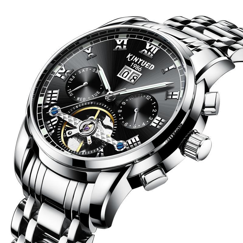 KINYUED JYD-J014 Stainless Steel Automatic Mechanical Watch Business Style Skeleton Men Watch