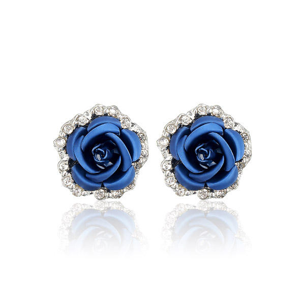 Rose Flower Crystal Rhinestone Ear Stud Earrings Women Jewelry
