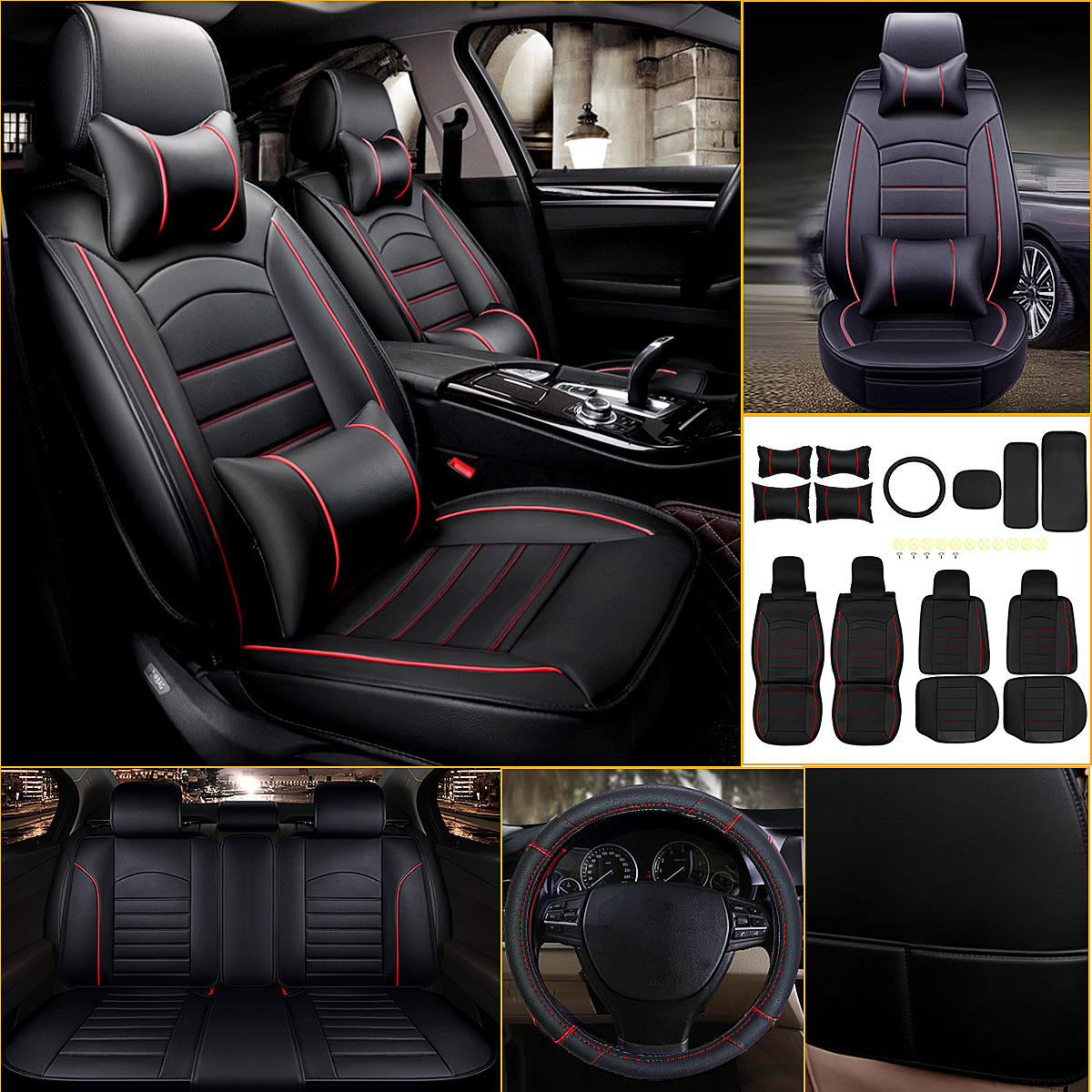 Heated Front Seats And Steering Wheel: Universal 5-seat Front And Rear Car Seat Cover With Neck