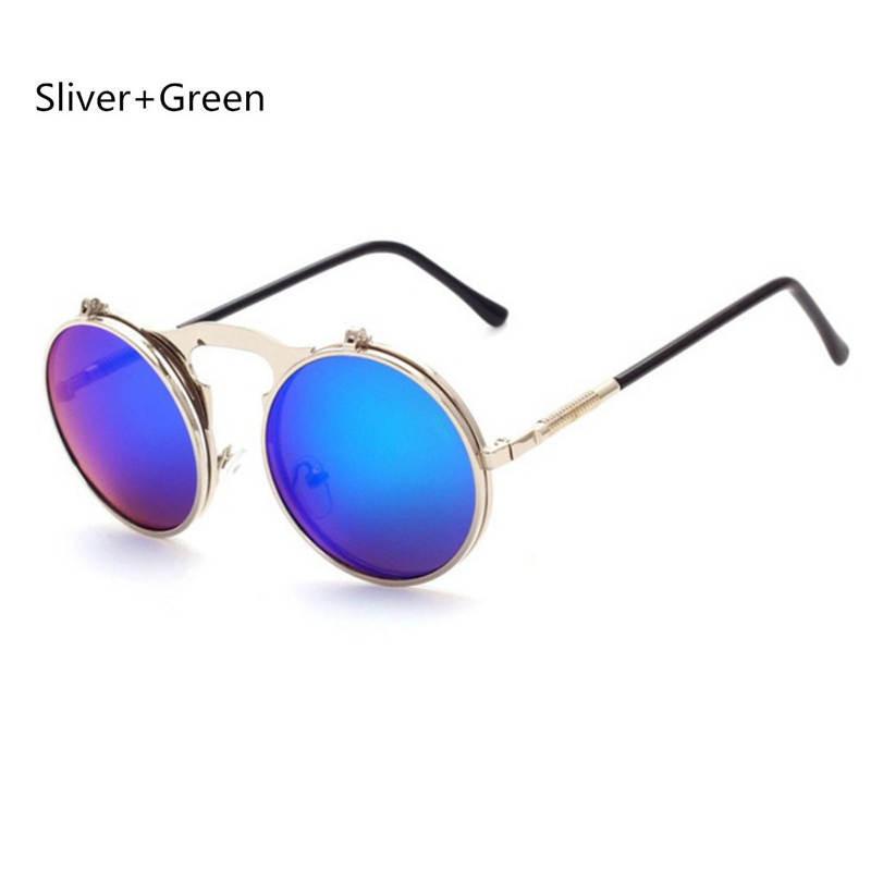 Mulheres Vintage Steampunk Goggles Men Round Metal Flip Up Lens Sun Glassess Eyewear