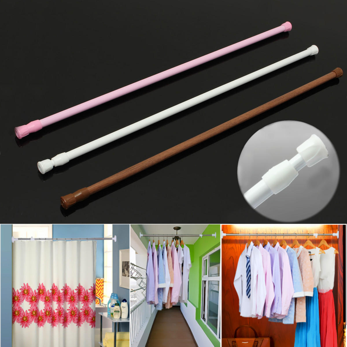 Gentil 60 110cm Extendable Adjustable Spring Tension Curtain Rod Pole Telescopic  Pole Shower Curtain Rod
