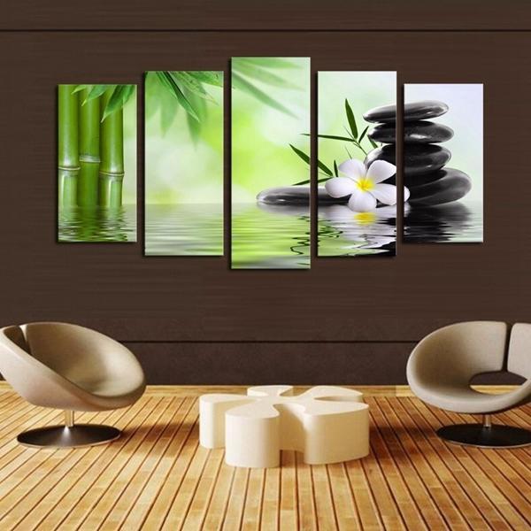 Pas de cadre vert énorme art abstrait décoration murale en toile de peinture à l'huile de jeu moderne
