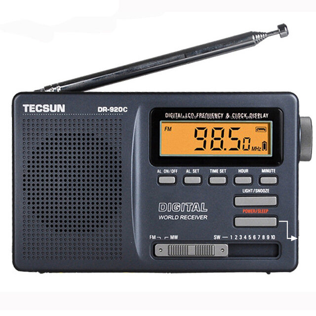 Tecsun DR-920C FM MW SW 12 Band Digitaluhr-Warnungs-Radioempfänger