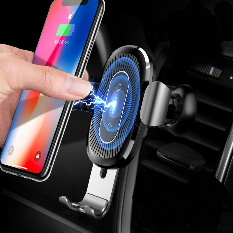 Baseus 10W Qi Wireless Fast Charging Gravity Auto Lock Air Vent Car Phone Holder Stand for iPhone 8 X COD