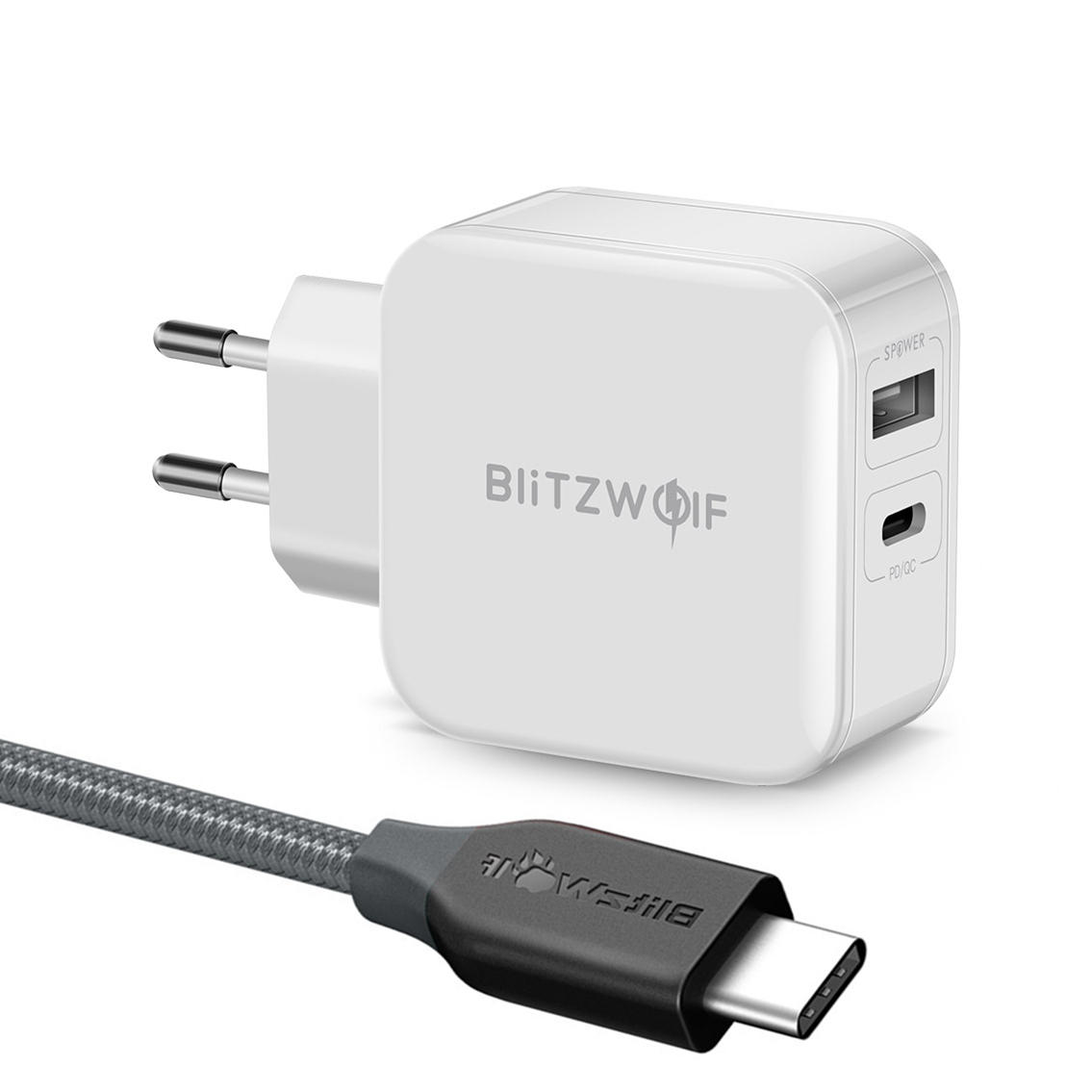 BlitzWolf® BW-S11+TC4 30W Type-C PD/QC3.0+2.4A Dual USB Fast Charger with Type-C to Type-C Cable COD
