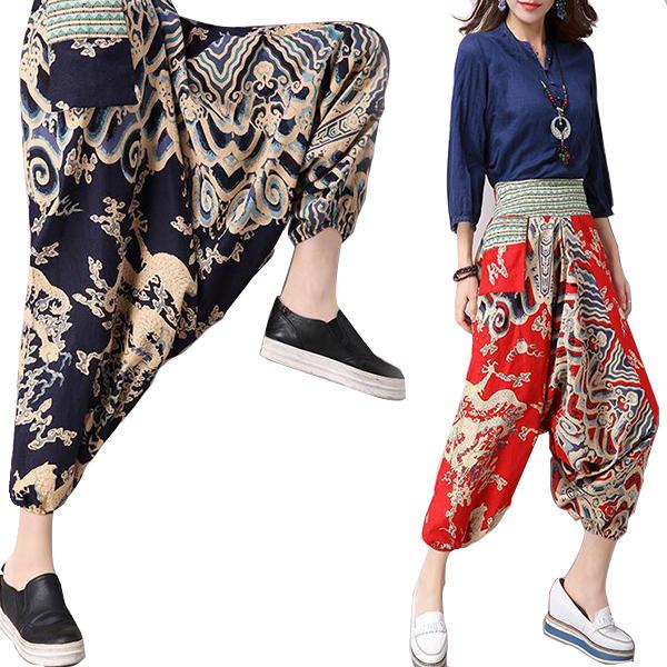 women yoga pants harem drop crotch bohemian trousers elastic loose bloomers  nepal style Sale - Banggood.com sold out 989822a4960