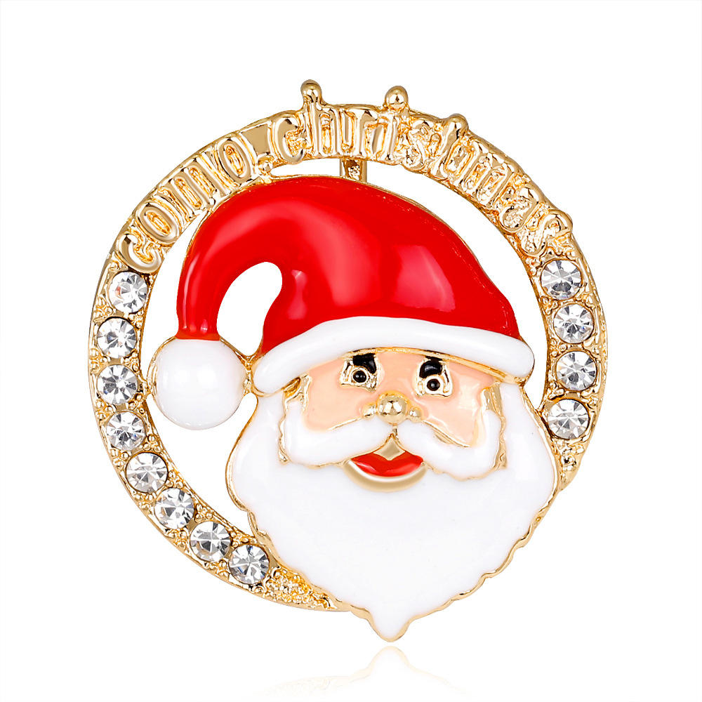 Fashion Christmas Gifts Pins And Brooches For Women Small Bell Heart Rhinestone Brooch Female Bijoux