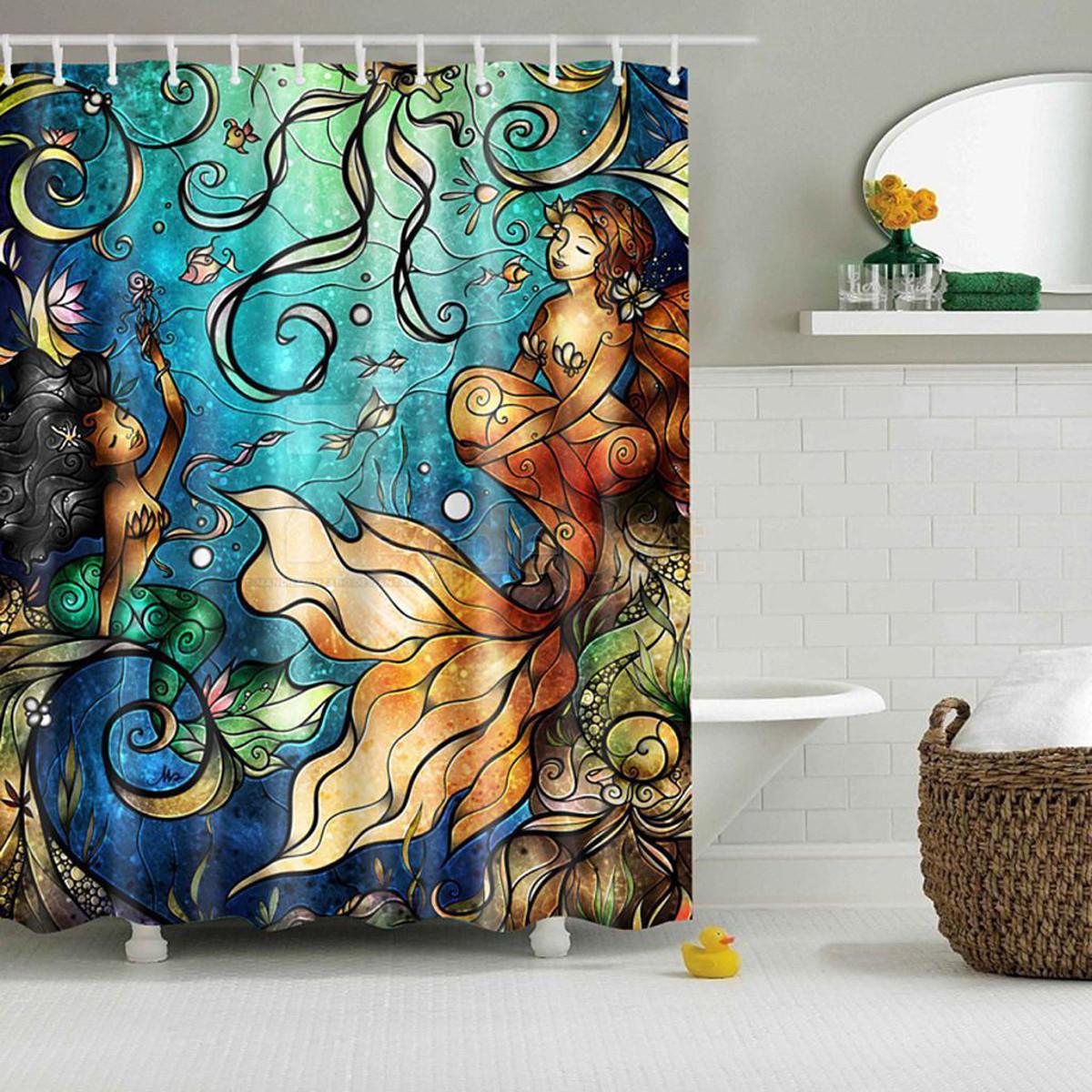 Waterproof Mermaid Scenery Pattern Fabric Shower Curtain Panel Sheer 180 x 180CM