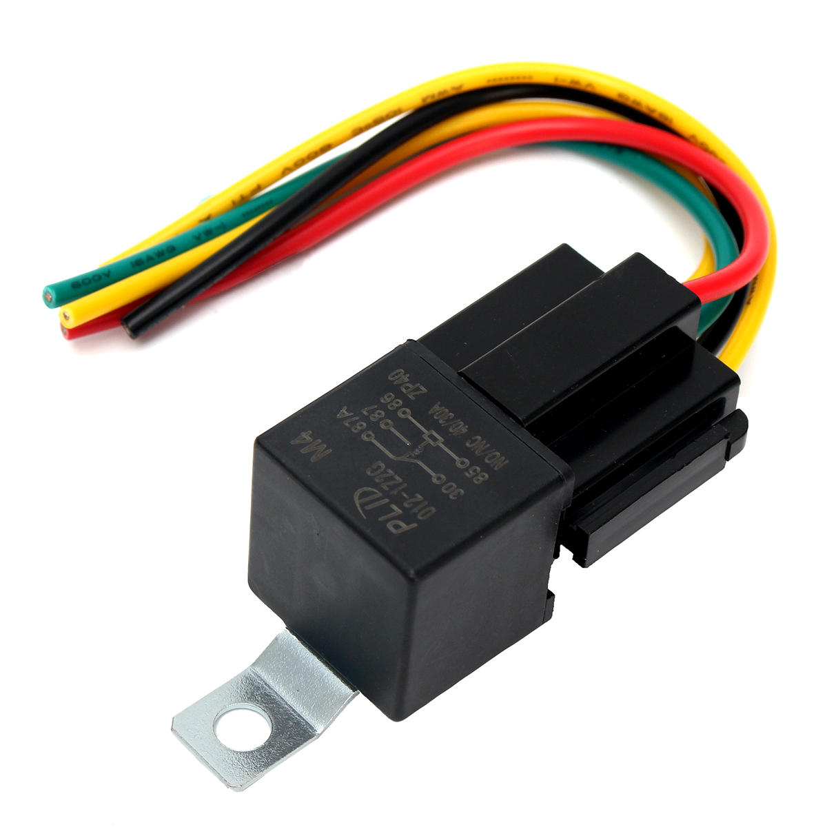 5pc 12V 30 40 Amp SPDT Automotive Relay With Wires And Harness Socket
