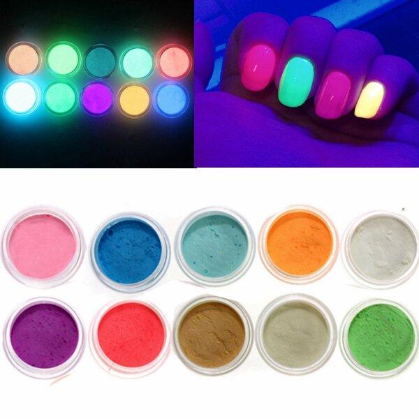 10 colori ardono nell'unghia scura la decorazione di polvere di contenitore di plastica di tatuaggio fluorescente