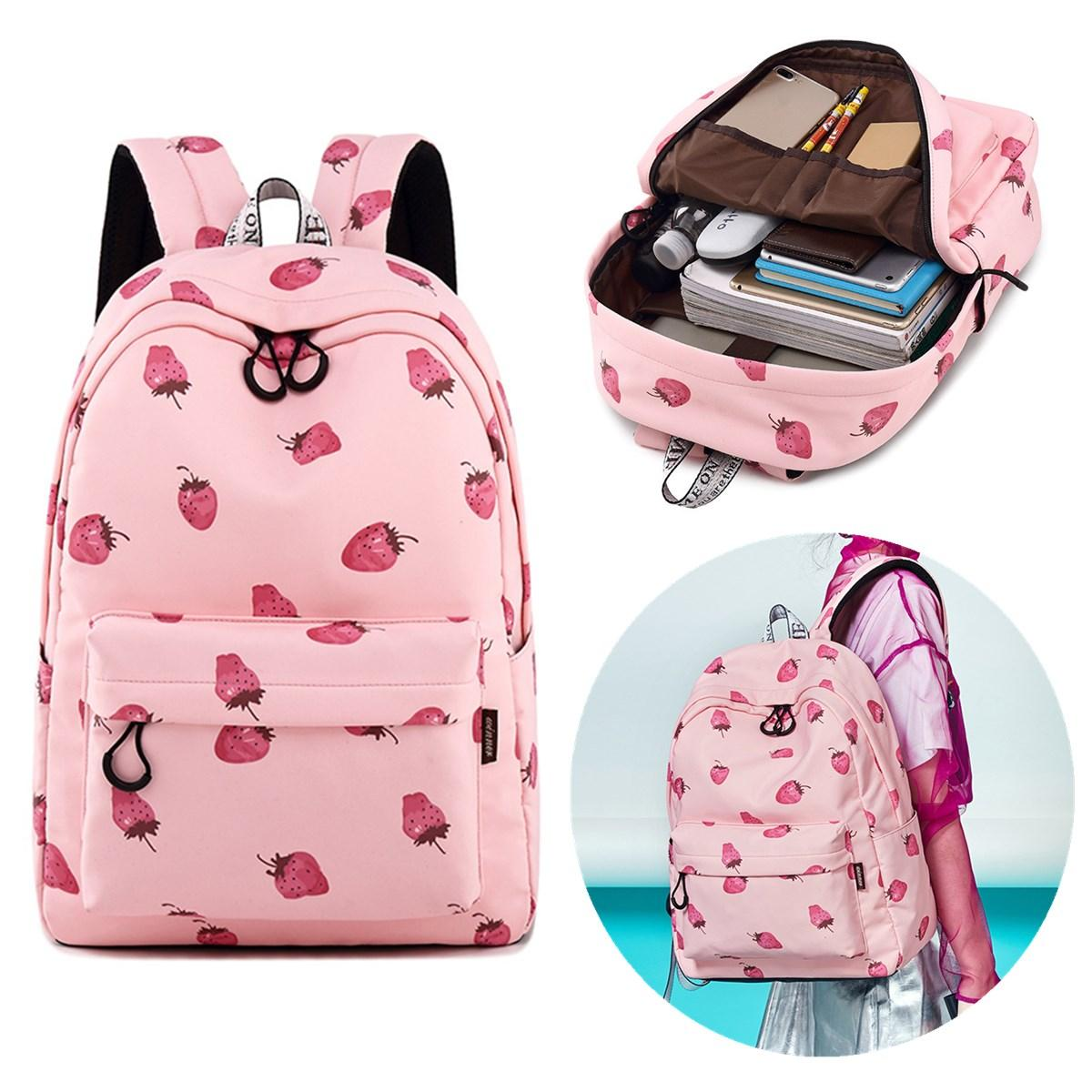 15.6 Inch Teen Girls Student Laptop Bag Pink Strawberry Handbag Travel  Backpack Schoolbag COD