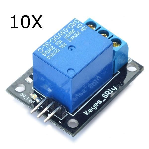 10Pcs 5V Module de relais 5-12V TTL Signal 1 canal de carte d'extension de haut niveau pour Arduino