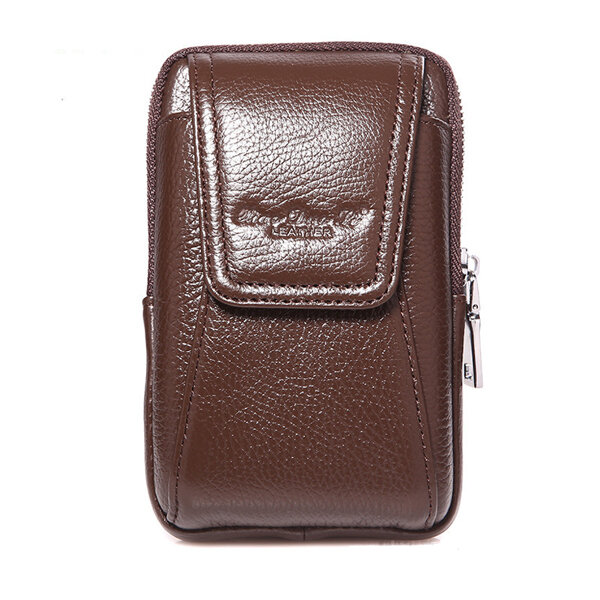 Men Genuine Leather Belt Loop Phone Pouch Holster Retro Cell Phone Case Waist Bag