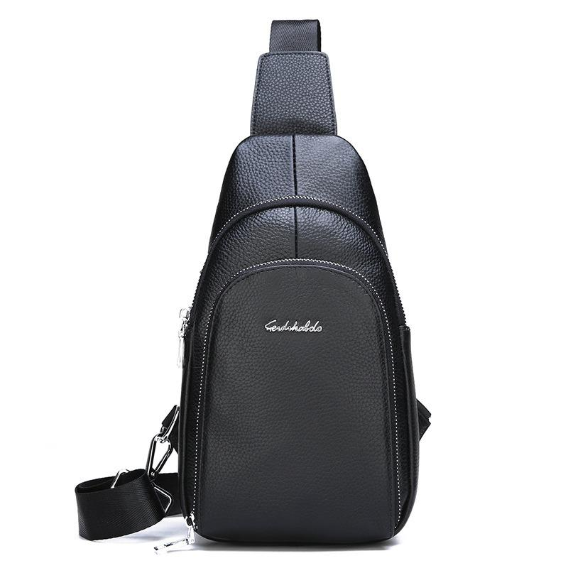 Men Genuine Leather Leisure Chest Bag