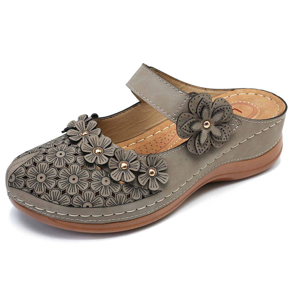 fddf7f6bb lostisy flores padrão escavar soft sandálias soltas na Banggood ...