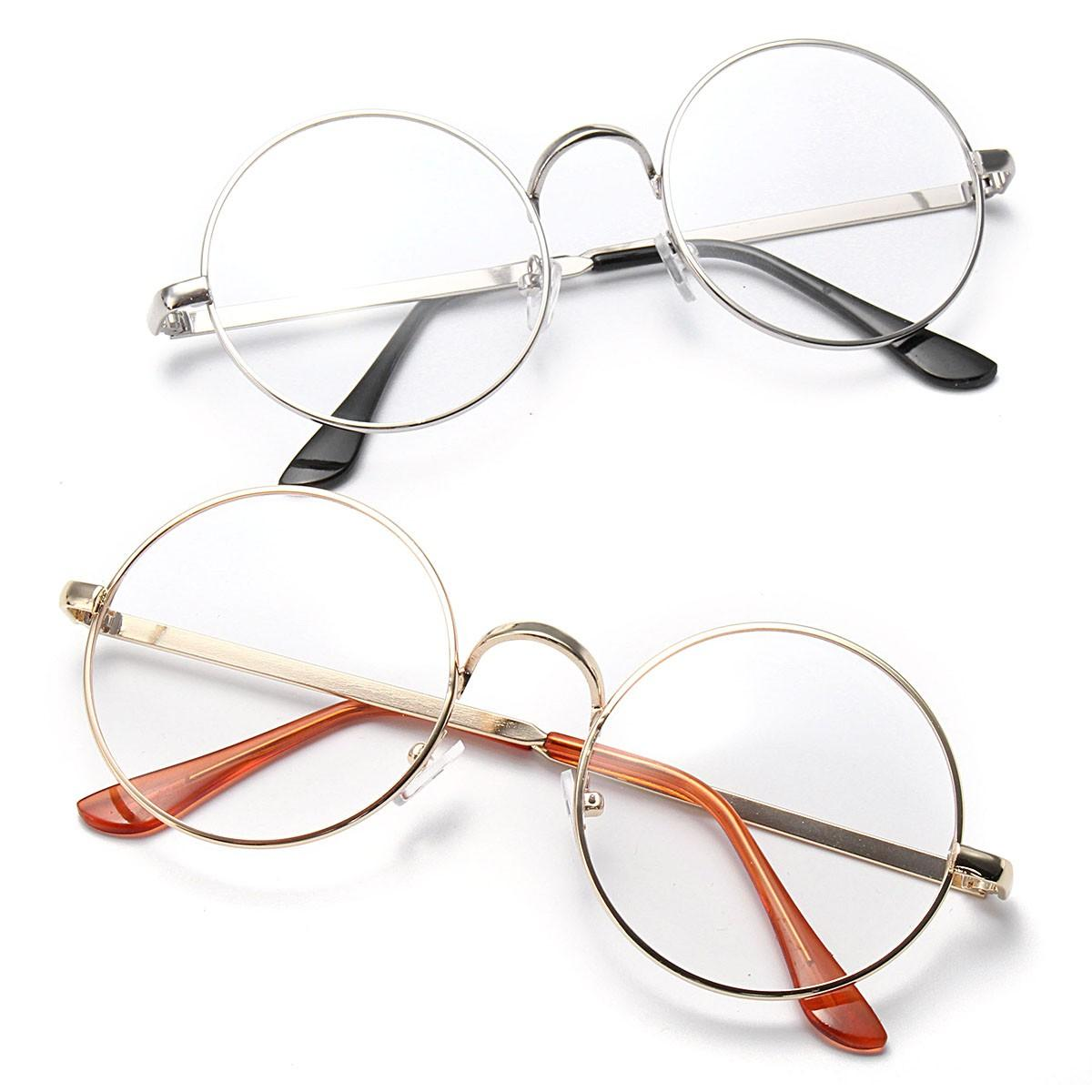 312b97a895f3 unisex big round spectacles metal frame plain glasses vintage eyeglasses  for men women at Banggood sold out