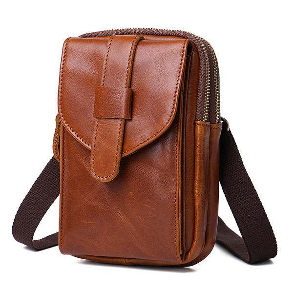 Genuine Leather Wearable Large Screen Cell Phone Bag Waist Bag Crossbody Bag For Men