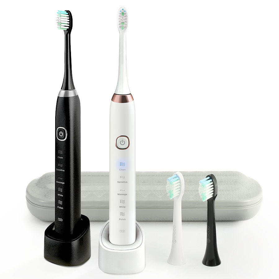 Digoo DG-YS11 5 Brush Modes Essence Sonic Electric Wireless USB Rechargeable Toothbrush IPX7 Waterproof With 2 Toothbrush Head