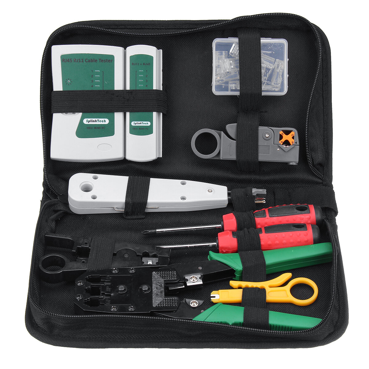 Red LAN Cable Tester Crimp Crimper Plier Kit Cat5 RJ45 RJ11 RJ45 Mano herramienta