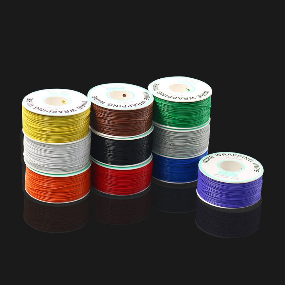 250m 30AWG Red/Black/Yellow/Blue/Green/White/Purple/Orange OK Line Circuit Board Flyer Wire Airline PCB Jumper Cable Wrapping Wire