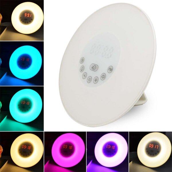 ARILUX® Touch Réveil Lumière Simulation du Lever de Solei avec Horloge de Réveil & Radio FM Coloré Lampe Atmosphère
