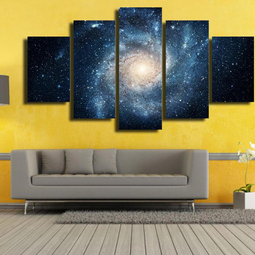 5 캐스케이드 우주 행성은 강으로 가라 앉는다 그림 캔버스 벽화 그림 집 장식