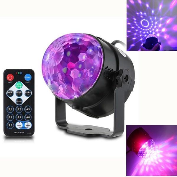 3W Control remoto / Voice Control Stage Light 3 UV LED Magia Bola para Halloween Navidad