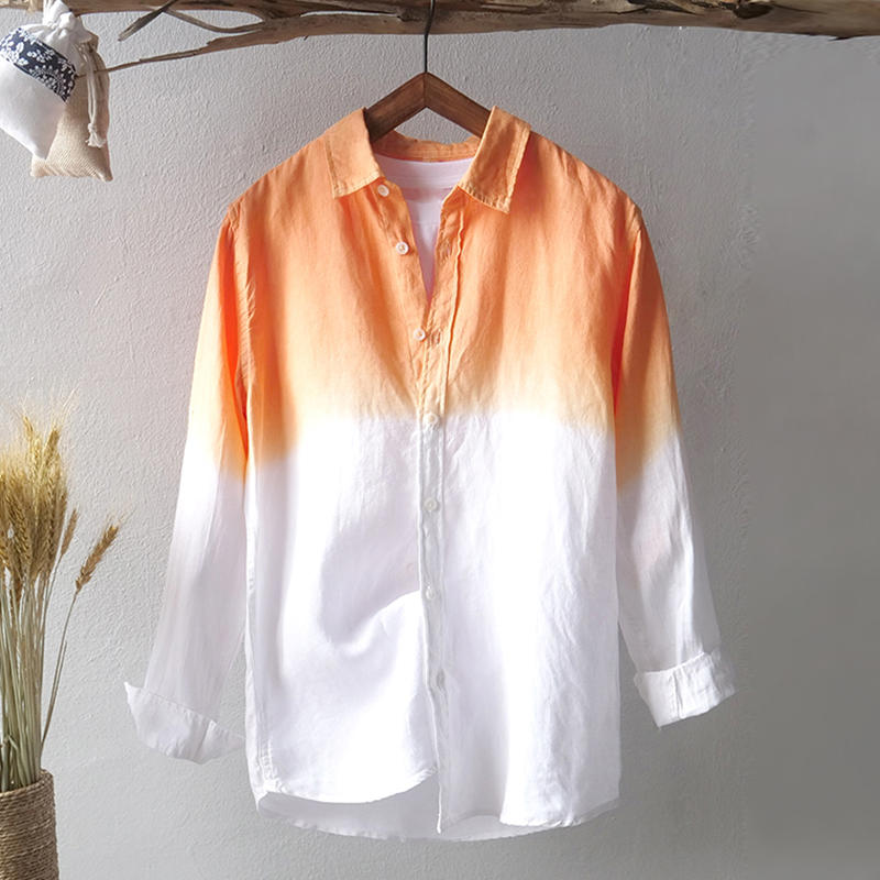 d274118f0d4 Mens Gradient Color Long Sleeve Cotton Breathable Trendy Casual Shirts -  Orange M COD